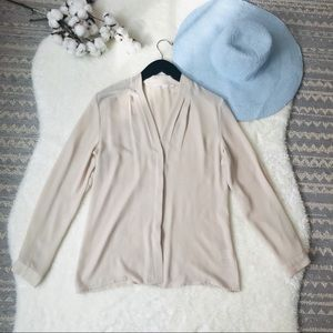 Violet + Claire | Nude Long Sleeve Blouse Small